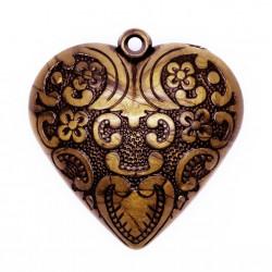 1x bronze Herz Anhänger ca. 51x54x19mm Acryl bronzefarben Schmuckanhänger- bronze Schmuckzubehör