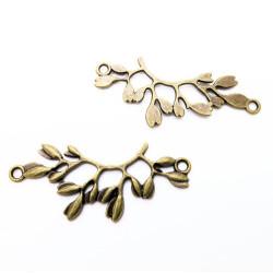 1x Kettenverbinder 38x16x2mm bronze Zweig mit Blättern Kettenverteiler - bronze Schmuckzubehör