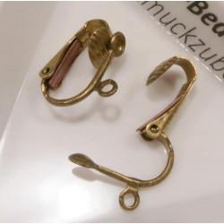 2 Stück / 1 Paar antikgold Ohrclips ca.12x15,6mm messingfarben - Schmuckzubehör zum Ohrclips selbermachen