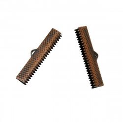10x kupfer Bandklemme 30mm kupferfarbene Bandklemmen Bandverbinder - kupfer Schmuckzubehör