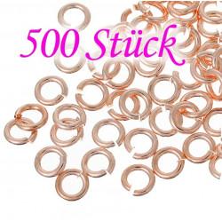 500x rose gold Biegering 4mm Stärke 0,8mm rund Biegering rosegold Biegeringe - rose gold Schmuckzubehör Biegering