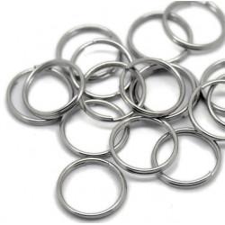 10x Spaltring 16mm rund silber kleiner stabiler Schlüsselring - Schmuckzubehör Spaltring