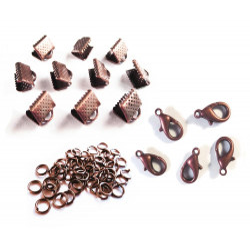 10 kupfer Bandklemmen 8mm + 5 Karabiner + 10 Biegeringe als Schmuckzubehör Set für Halsbänder - kupfer Schmuckzubehör Set