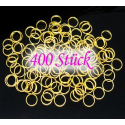 400 vergoldete Spaltringe 8mm rund gold Doppelringe - Schmuckzubehör Spaltring
