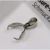 1x Edelstahl Collierschlaufe 16x9,5mm silber Anhängerhaken silberfarben - Schmuckzubehör Collierschlaufe