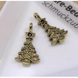2x antikgold Weihnachtsbaum Anhänger ca. 22x11mm X-Mas goldfarbener Schmuckanhänger - Schmuckzubehör Weihnachten