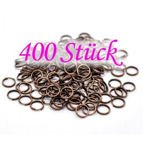 400 kupfer Spaltring 8mm x 1,4mm rund kupfer Doppelring kleiner Schlüsselring - kupfer Schmuckzubehör
