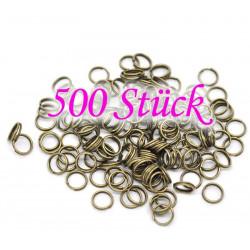 500 bronze Spaltringe 8mm rund bronze Doppelringe - bronze Schmuckzubehör