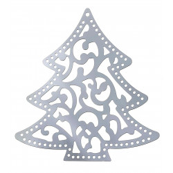 1x Edelstahl Weihnachtsbaum 41x40mm silbervSchmuckanhänger für Weihnachten - Edelstahl Schmuckzubehör