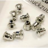 Silberfarbene Ohrstopper 6x5mm für Ohrstecker und Ohrfedern - Schmuckzubehör zum Ohrringe selbermachen