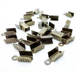 10x bronze Endkappe 12x5mm bronzefarben Quetschröhrchen - Schmuckzubehör
