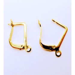 1 Paar gold Brisuren 20x12,5mm geschlossene Ohrhaken Ohrfedern goldfarbene Brisuren - Schmuckzubehör zum Ohrringe selbermachen