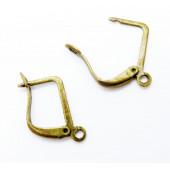1 Paar bronze Brisuren 20x12,5mm geschlossene Ohrhaken Ohrfedern eckige Brisuren - Schmuckzubehör zum Ohrringe basteln