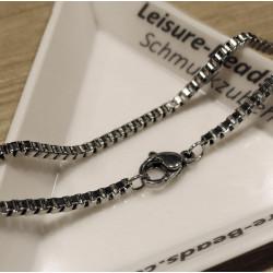 1x Edelstahl Halskette ca. 50cm 2mm Stärke Kastenlkette aus Edelstahl - Schmuckzubehör Schmuckkette