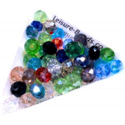 50 St. 8x6mm geschliffene Kristallglasperlen mit Glanz im buntenPerlenmix - buntes Schmuckzubehör
