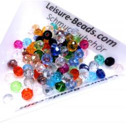 50 St. 4x3mm geschliffene Kristallglasperlen mit Glanz im bunten Perlenmix - buntes Schmuckzubehör
