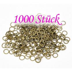 1000x bronze Biegering 6mm Stärke 0,7mm rund bronzefarbene Binderinge - bronze Schmucktzubehör
