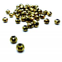 10x Gold geschliffene Kristallglasperlen 6x4mm gold Rondelle - Schmuckzubehör Kristallglasperlen