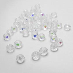 50 St. 6x4mm geschliffene Kristallglasperlen transparent mit Glanz - Schmuckzubehör