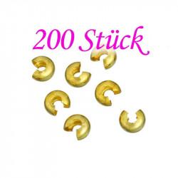 200 goldfarbene Kaschierperlen 6x4mm Cover Crimp Perlen - Schmuckzubehör