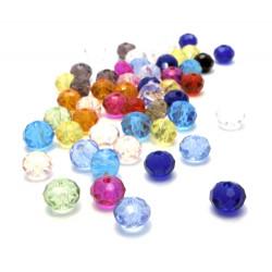 50 St. 6x4mm bunte geschliffene Kristallglasperlen Strang bunter Perlenmix - buntes Schmuckzubehör