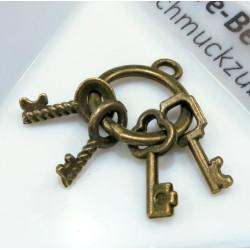 2x bronze Schlüsselbund 14x23mm Schmuckanhänger - bronze Schmuckzubehör