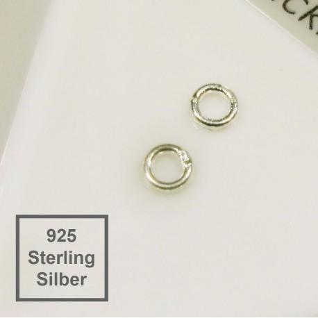 2x 4mm geschlossener Ring 925 Sterling Silber rund 925 Silber Binderinge - Echtsilber Schmuckzubehör