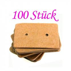 100 natur braune Schmuck Karten 33x25mm Papier ohne Schrift Schmuck Display Ohrstecker - Schmuckzubehör
