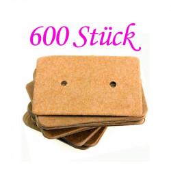 600 natur braune Schmuck Karten 33x25mm Papier ohne Schrift Schmuck Display Ohrstecker - Schmuckzubehör
