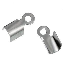 4x Edelstahl Endkappe 9x5mm silber Bandklemmen - Edelstahl Schmuckzubehör Endkappe