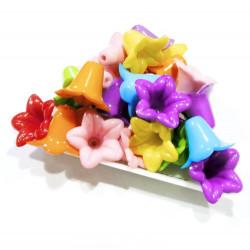 30 Stück bunte Perlenkappen 17x12mm aus Acryl Blumenkelch Perlen Kappen - Schmuckzubehör Perlenkappe