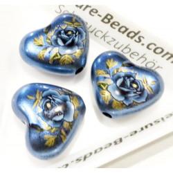 1x blaue Acryl Herz Perle 19x16mm mit Rose - Acryl Schmuckzubehör