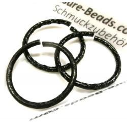 5x schwarzer Biegering 22mm Stärke 2mm aus Aluminium rund - Schmuckzubehör