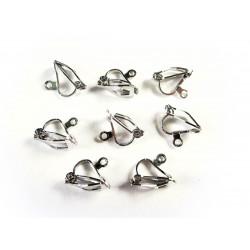 8 Stück / 4 Paar silber Ohrclips (2) 12x8mm silber Ohrringe ohne Löcher zu tragen - Schmuckzubehör Ohrclips basteln