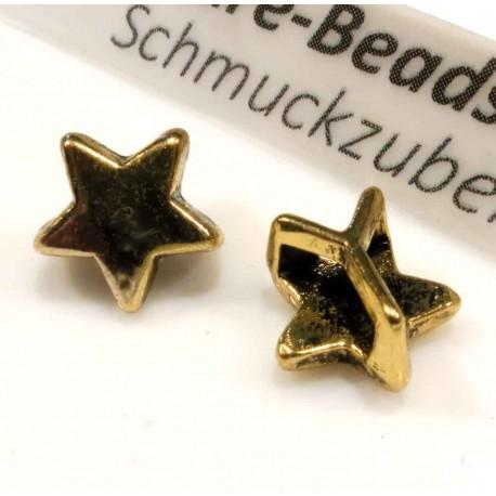 1x gold Stern Schiebeperle 10x6mm Innen 6x2mm gold Perle - Schmuckzubehör Schiebeperle