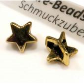 Goldfarbene Stern Schiebeperle 10x6mm Innen 6x2mm gold Perle - Schmuckzubehör Schiebeperle