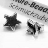 1x silber Stern Schiebeperle 10x6mm Innen 6x2mm silber Perle - Schmuckzubehör Schiebeperle