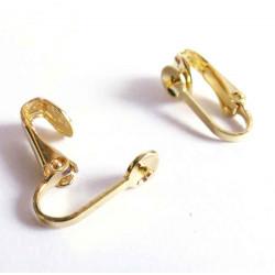 2 Stück gold Ohrclips ca. 17x9mm zum Bekleben für gebohrte Perlen - Schmuckzubehör zum Ohrclips selbermachen