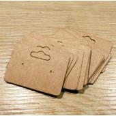 20 natur braune Schmuck Karten 33x25mm mit Aufhänger aus Papier ohne Schrift Schmuck Display Ohrstecker - Schmuckzubehör