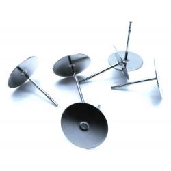 20 Stück / 10 Paar Edelstahl 10mm Ohrstecker zum Bekleben Studs mit Stopper - Schmuckzubehör Ohrringe