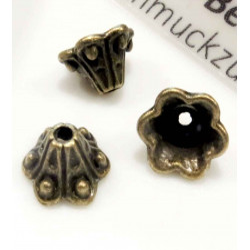 5x bronze Perlenkappen 10x5mm Trichter bronzefarbene Perlen Kappen - bronze Schmuckzubehör