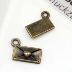1x bronze Liebesbrief 10x6mm Schmuckanhänger Briefkuvert - bronze Schmuckzubehör
