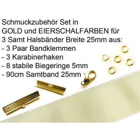 Schmuckzubehör Set in eierschalfarben für 25mm Halsband aus Samtband, Bandklemmen, Karabinern + Biegeringen - Schmuckzubehör Set