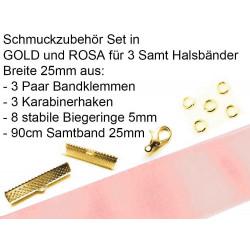 Schmuckzubehör Set in rosa für 25mm Halsband aus Samtband, Bandklemmen, Karabinern + Biegeringen - Schmuckzubehör Set