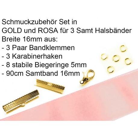Schmuckzubehör Set in rosa für 16mm Halsband aus Samtband, Bandklemmen, Karabinern + Biegeringen - Schmuckzubehör Set