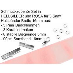 Schmuckzubehör Set 16mm Halsband mit rosa Samtband, hellsilber Bandklemmen, Karabinern + Biegeringen - Schmuckzubehör Set