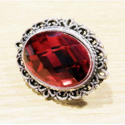 1x rote faccettierte Glas Schiebeperle 26x21mm silber rote Großlochperle oval - Schmuckzubehör Schiebeperle