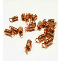 10x Rosegold Spiralendkappe 9x3,5mm innen 2,4mm rosegold Einklebkappen - rosegold Schmuckzubehör