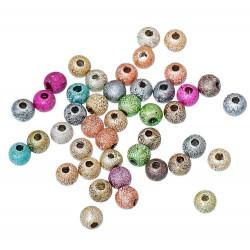 Ca. 50 bunte ACRYL Perlen Stardust 4mm angerauhte Acrylperlen im bunten Perlenmix - Schmuckzubehör Acrylperlen