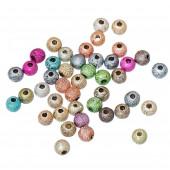 50 bunte ACRYL Perlen Stardust 4mm angerauhte Acrylperlen im bunten Perlenmix - Schmuckzubehör Acrylperlen